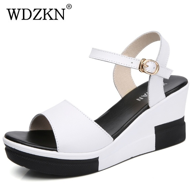 2993932cae WDZKN Summer Women Wedge Heel Sandals Open Toe Split Leather Casual Shoes  Women High Heel Comfortable Platform Sandals