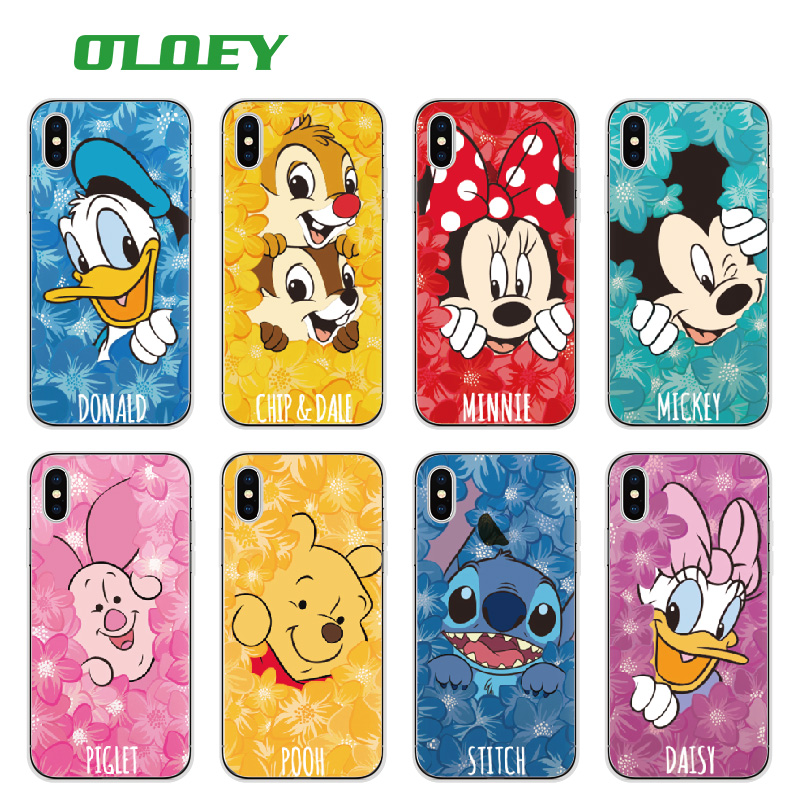 OLOEY Minnie Mickey Cartoon Donald Duck Stitch Daisy Pooh Bear Characters Phone case For iPhone6 6plus 7 7plus 8 8plus X Samsung