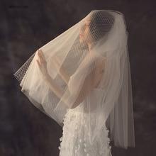 In Stock Wholesales Short Bridal Veils Fingertip Length For Wedding Bride Dual Use 2019 New Arrival Voile De Mariee VE019