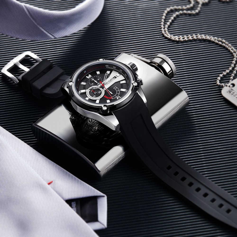 MEGIR מותג שעון צבא ספורט קוורץ שעונים גברים שחור סיליקון רצועת צבאי הימי הכרונוגרף שעוני יד לגבר Relogios
