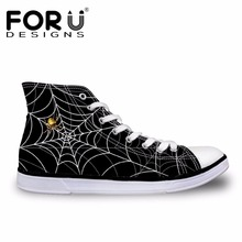 FORUDESIGNS 3D Spiderweb Printed Black Men's Vulcanized Shoes Fashion High Top Lace-up Autumn Casual Canvas Shoes for Men Boys