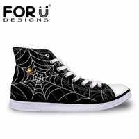 FORUDESIGNS 3D Spiderweb Printed Black Men S Vulcanized Shoes Fashion High Top Lace Up Spring Casual