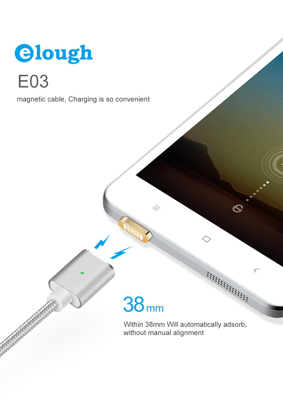 Elough E03 Magnetic Micro USB Cable Charger For Fast Charging And Magnetic Data Cable For Phones 10