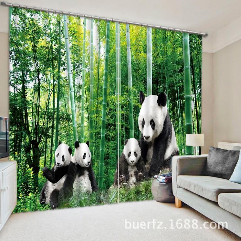 """Naujos """"Panda Blackout"""" užuolaidų audinio 3D užuolaidos, - Namų tekstilė"""