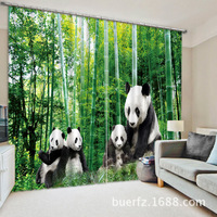 New Panda Blackout curtains fabric 3d curtains for bedroom ready made blinds Christmas window curtains kids room curtains living
