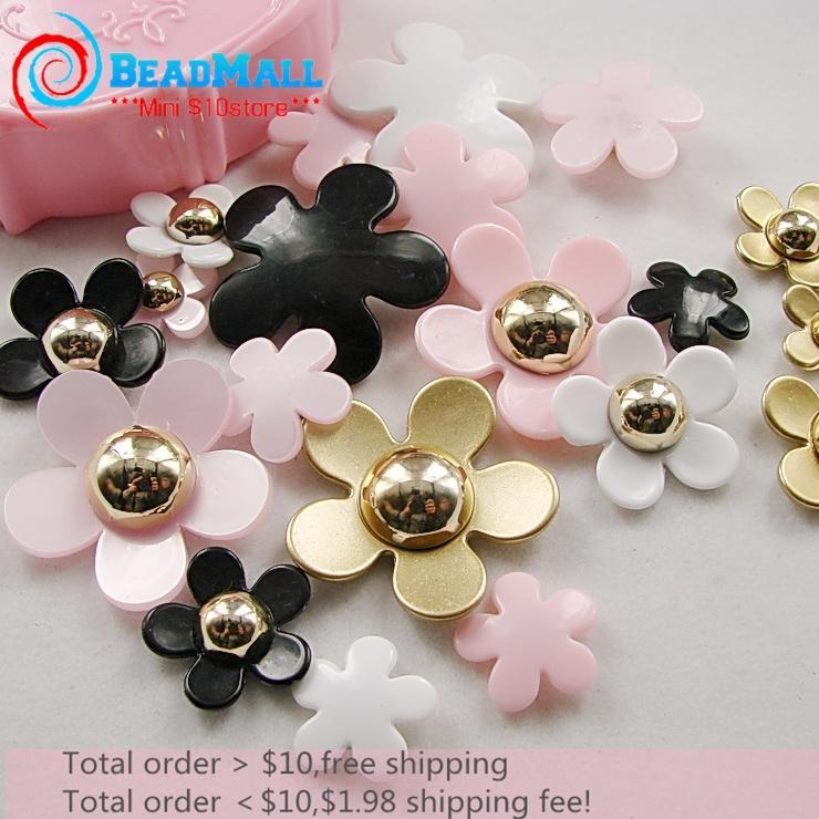 Mix Size Mix Color 20pcs Wholesale Rose Flower Resincabochon Scrapbooking Hair Color Accessories DIY008