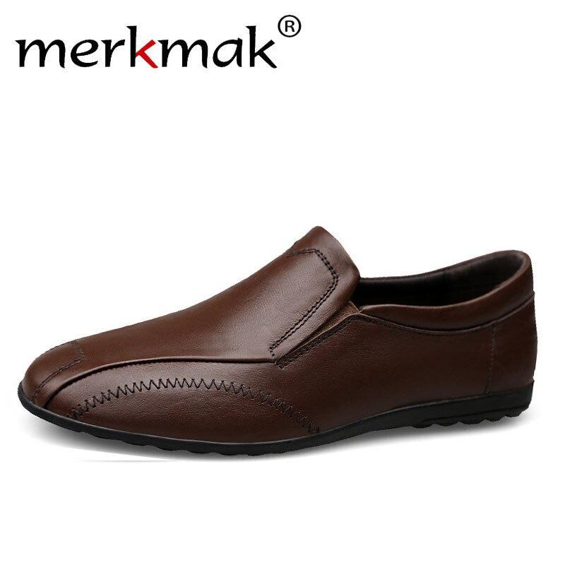 brown Merkmak red blue Homme Cuir Hiver Chaussures Plates Black Printemps  Confortable Nouveau Mocassins Glissement Véritable ... 698f12d074e
