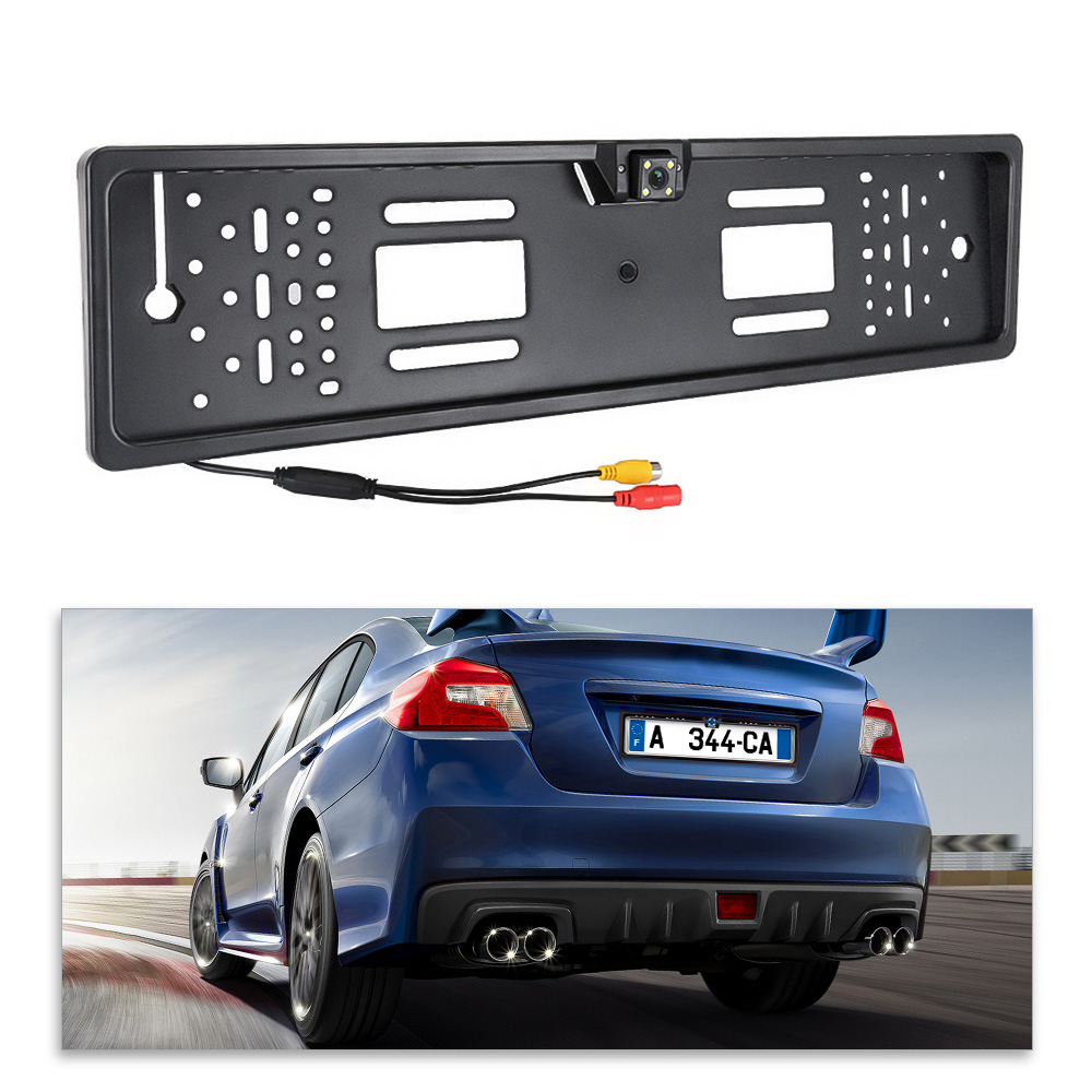 Image 5 - Auto Parktronic EU Car License Plate Frame HD Night Vision Car Rear View Camera Reverse Rear Camera With 4 Led Light-in License Plate from Automobiles & Motorcycles