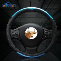 38cm/15 For Ford Focus Ecosport Kuga Edge Mondeo Fiesta Exploror Escort Genuine Cow Leather Car Steering Wheels Covers Diameter