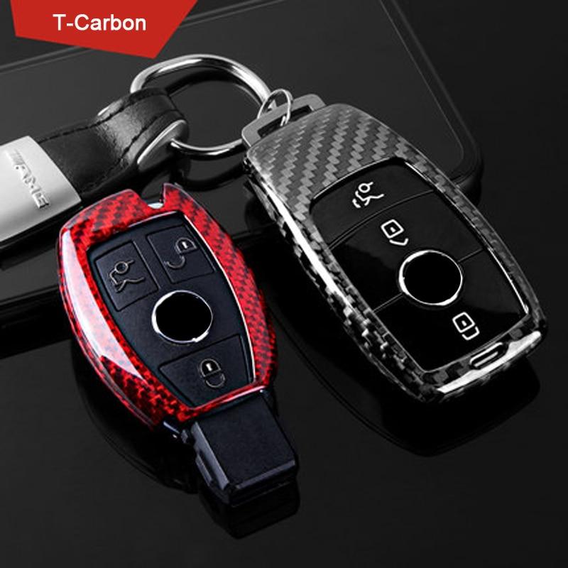 Carbon Fiber key case cover Key case protective shell holder for Mercedes benz A B R G Class GLK GLA W204 W205 W251 W463 W176