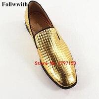 Новое поступление весенние золотые свадебные модельные туфли Для мужчин большой Размеры Лакированная кожа Для мужчин S Лоферы для женщин к