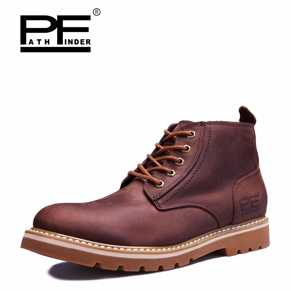 Hot Sale Man Fashion Leather Boots Spring Autumn Europe Style Man Motorcycle Martin Boots Men Lace-Up High Top Casual Shoes