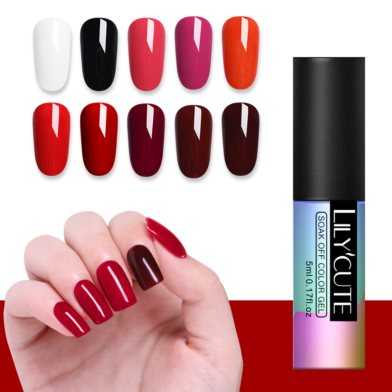 LILYCUTE Rose Pink UV Gel Nail Polish Pure Nail Color Coat Soak off UV LED DIY Nail Art Gel Varnish Red Manicure 5ml in Nail Gel from Beauty Health