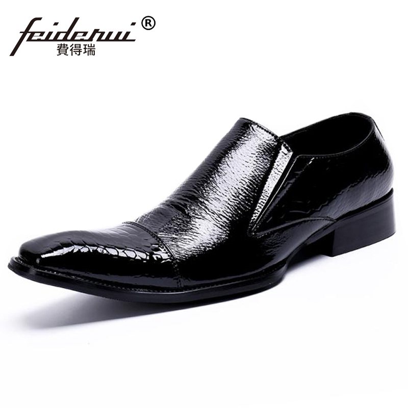 Plus Size Italian Designer Pointed Toe Slip on Man Wedding Banquet Loafers Patent Leather Handmade Men's Casual Shoes SL441 luxury pointed toe rivet casual shoes england designer party and banquet men loafers fashion young man walking street shoes
