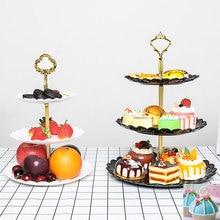Three-layer Cake Rack Fruit Plate Stand Dessert Vegetable Storage