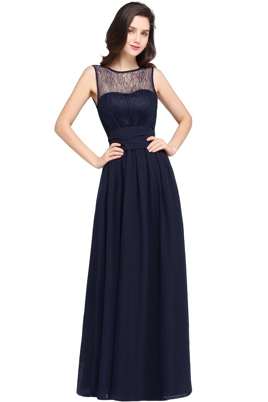 Chiffon Čipka Mint Zelená družička šaty Long 2017 A Line O krk - Šaty pro svatební hostiny - Fotografie 5