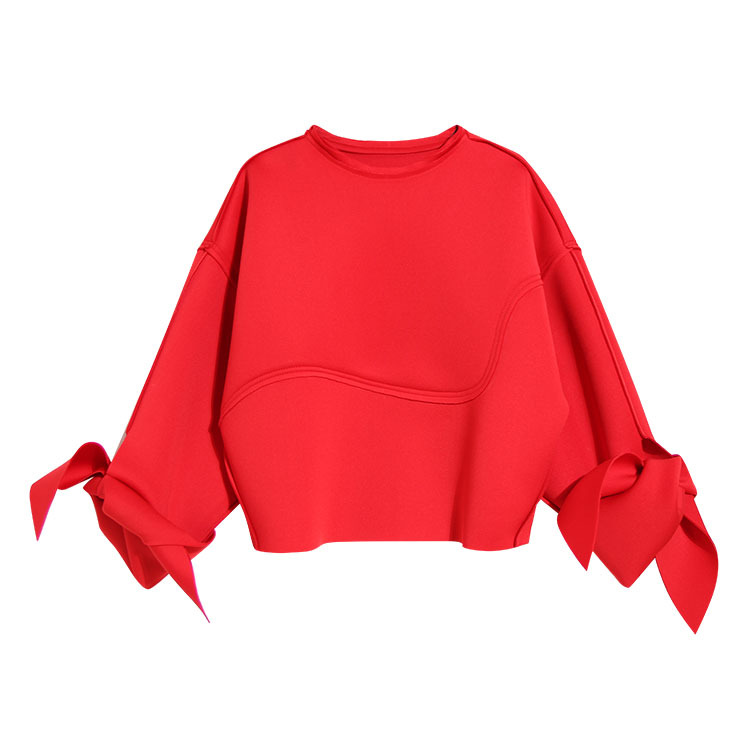 Type Woman Fleece Euramerican Cuffs red Profile Ms Paragraphs Cotton 2018 Black Bowknot Designer Space Spring With 17TwqffUFW