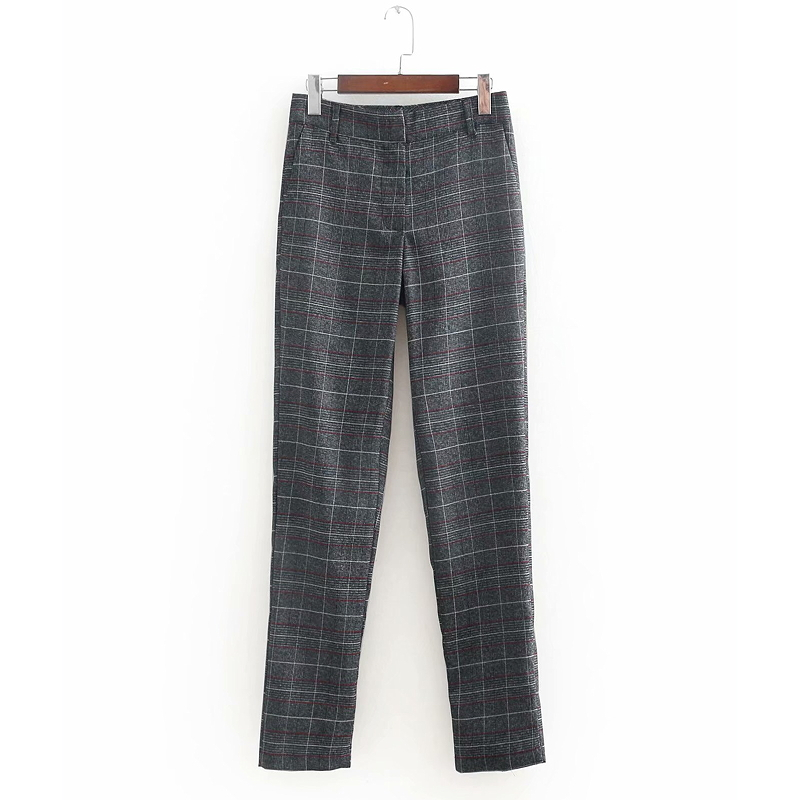 Women Vintage Plaid Pocket Pencil Pant Retro Zipper Fly Full Length Business Trousers Office Lady Wear Slimming Brand Pants P144