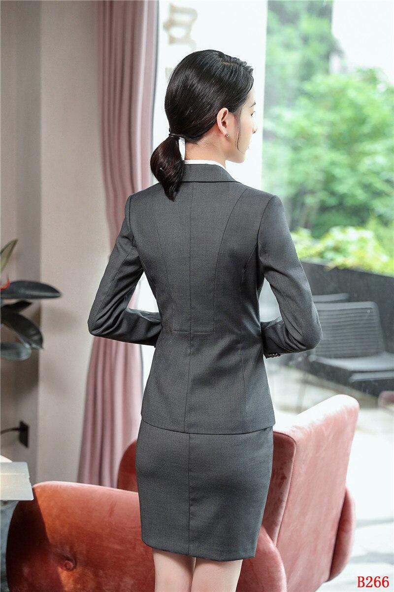 Mode Qualité Styles Jupe Noir D'affaires Haute Costumes Femmes Veste Uniformes Et Dames Formelle Bureau Ensembles gris Blazer Gris De wRqFFdgt