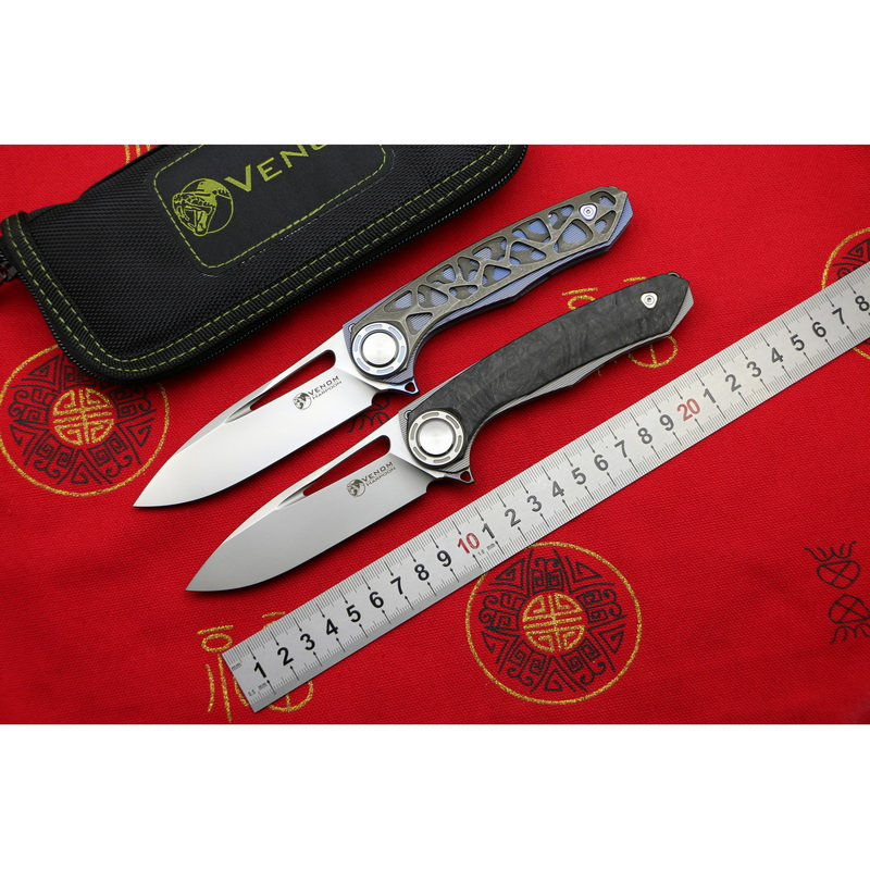 VENOM HARPOON M390 steel Titanium CF Flipper folding knife outdoor camping hunting survival pocket kitchen fruit knives EDC tool