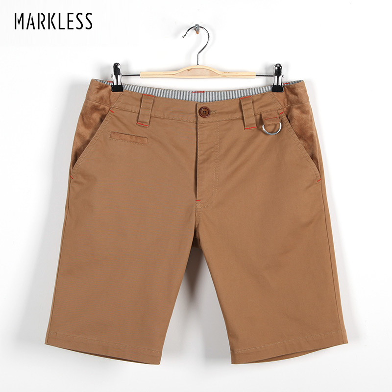 Markless Summer Casual Men Shorts para hombre sólido de color caqui - Ropa de hombre - foto 2
