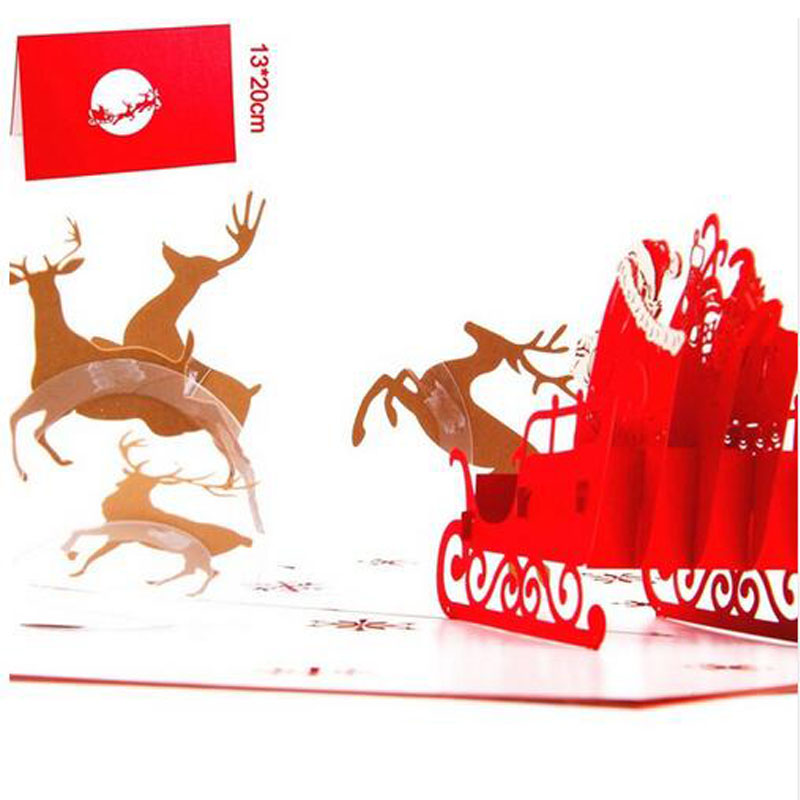 3pcs Flying Xmas Santa Ride Greeting Cards 3D laser Cut Pop Up Paper Handmade Postcards Christmas Party Gifts Supplies Souvenirs 3pcs flying xmas santa ride greeting cards 3d laser cut pop up paper handmade postcards christmas party gifts supplies souvenirs