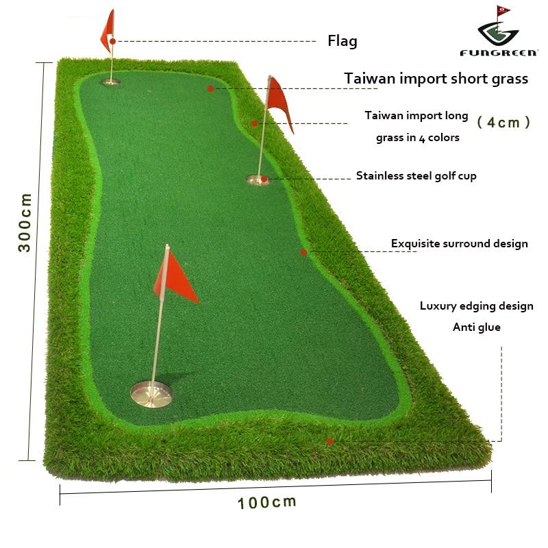 Image 2 - FUNGREEN 3x9 ft Indoor&Outdoor Golf Putting Green Practice Turf Putting Mats Golf Training Green With Free Gift-in Golf Training Aids from Sports & Entertainment