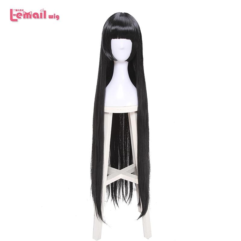 L-email perruque marque 100cm Kakegurui Yumeko Jabami Cosplay perruques noir droit résistant à la chaleur cheveux synthétiques Perucas Cosplay perruque