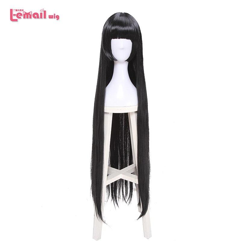L-email Wig Brand 100cm Kakegurui Yumeko Jabami Cosplay Wigs Black Straight Heat Resistant Synthetic Hair Perucas Cosplay Wig