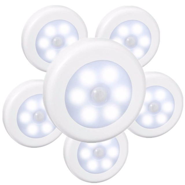 10 pcs 6 LEDs Infrared PIR Motion Sensor Battery Powered 6 led Night Light Wireless Detector Wall Lamp for Closet Cabinet