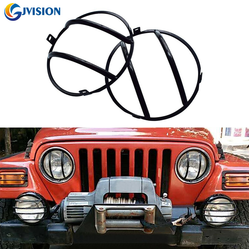2pcs 7 inch Black Front Headlight Cover Guards kit for 2007-2016 Jeep Wrangler JK Car Vehicle Parts Accessory 2 pcs black car styling parts front rear grab bar handles for jeep wrangler jk 2007 2017 new fashion upgraded
