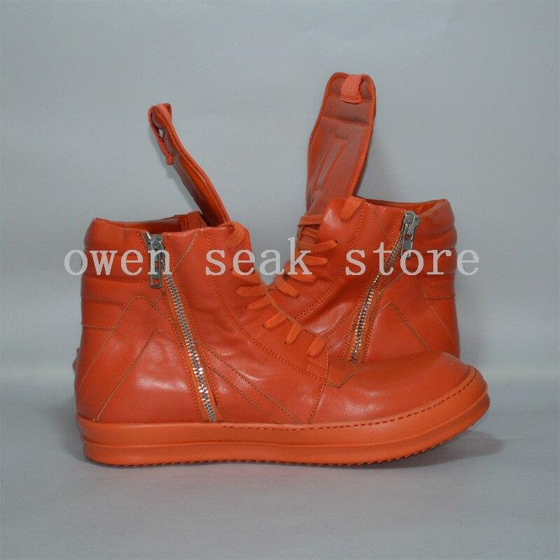 Con Superior Casuales Botas Grande Owen Seak Naranja Alta Cuero Planos Hombres Genuino Zapatillas Cordones De Botines Zapatos Lujo Tamaño blanco rtRtwOcTqY
