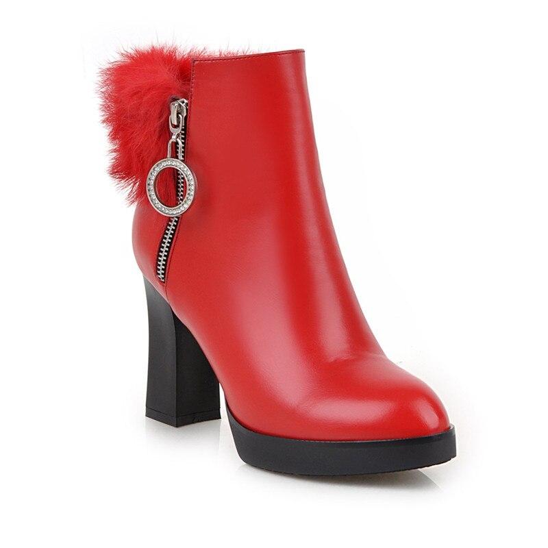 Noir Gland Bottes Glissière Hiver Chaîne Noir À Dames 2018 Bootie Mode Femmes rouge Fourrure Rouge Ymechic Bottines Haut Plateforme Chaussures Talon DHYEIW29