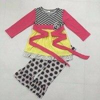 Conice Nini Remake Boutique Children Clothing Sets Print Ruffle Top Dress Kids Legging 2 Pcs Suit