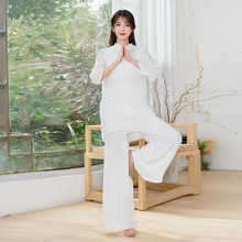 Summer Women Yoga Set Tai Chi Martial Arts Uniforms Loose Wide Leg Yoga Pant Yoga Shirt Kung Fu Meditation Suit Exercise Clothes autumn men yoga set tai chi kungfu clothes cotton linen chinese traditional loose shirt pant meditation martial arts uniforms