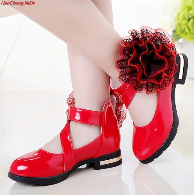 Girls Shoes For Party Wedding Butterfly-knot Flowers Princess Shoes Ankle Strap Leather Shoes Big Girls Dress Shoes Baby Kids