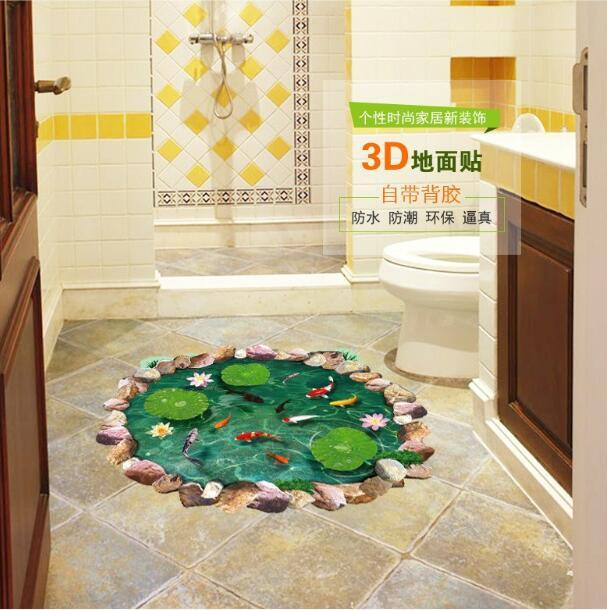 ( 3D Fish pond cartoon flower leaf goldfish lotus bedroom living room Floor toilet wall stickers removable waterproof home decor