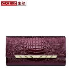 Zooler женщин бумажник HASP портмона известный бренд натуральная кожа 3D тиснением аллигатора крокодила леди Длинные сцепления кошельки