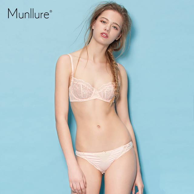6dc3ea8370 Munllure 2016 Sexy embroidery ultra-thin transparent perspective lace  elegant push up bra summer cover set