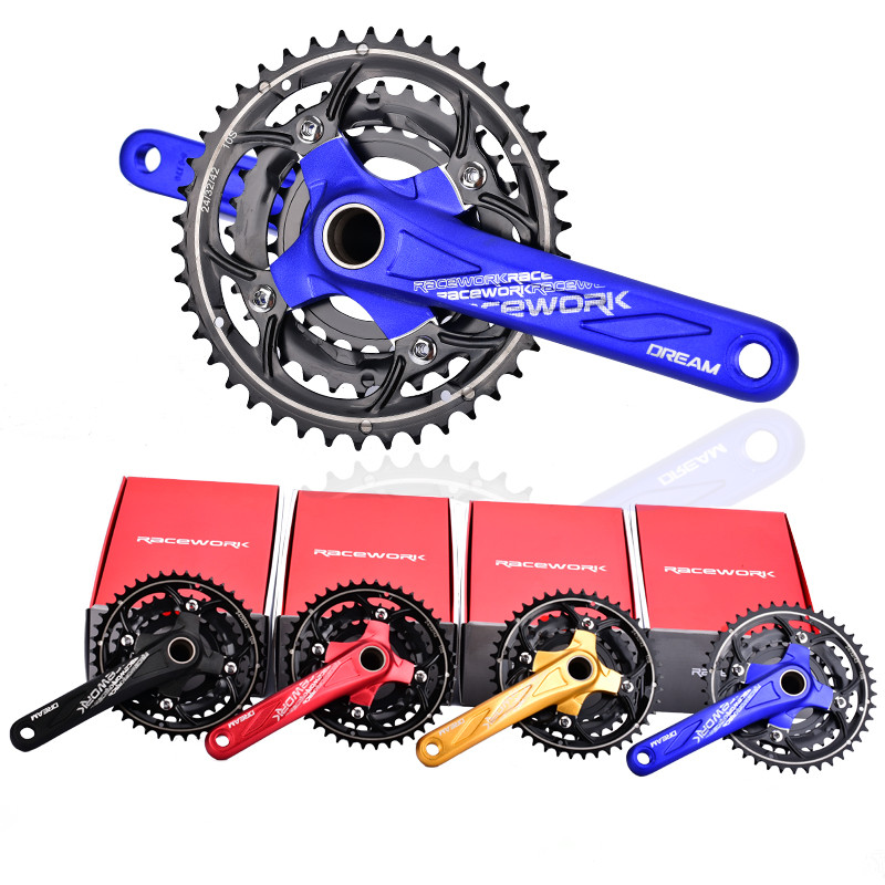 RACEWORK Mtb Bike Crankset Aluminum CNC 104BCD 27 /30 Speed Bicycle Crank 170 mm Mtb Crankset Bike parts 4 Colors west biking bike chain wheel 39 53t bicycle crank 170 175mm fit speed 9 mtb road bike cycling bicycle crank