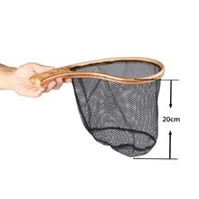 MAXWAY Fly Fishing Landing Net Burl Wooden Handle Net Rubber Coat Net Catch & Release Fly Net подсак snowbee wooden sea trout net