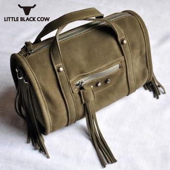 New Women Genuine Leather Tassel Boston Shoulder Bag Motorcycle Casual Suede Rivet Handbag Crossbody Bag Vintage Female 1