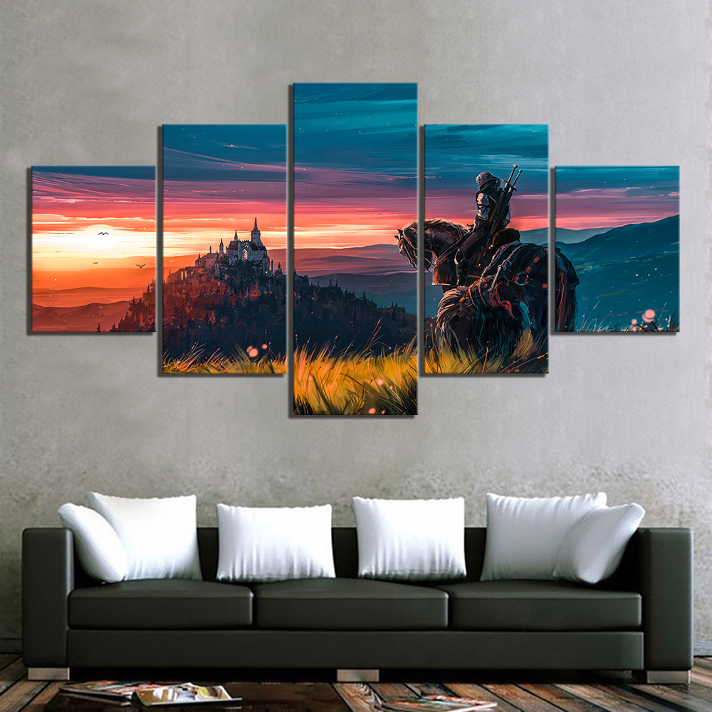 5-Piece-The-Witcher-3-Wild-Hunt-Game-Poster-Artwork-Paintings-Canvas-Art-for-Living-Room