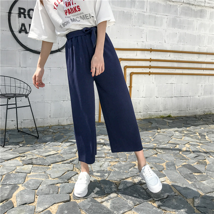 19 Women Casual Loose Wide Leg Pant Womens Elegant Fashion Preppy Style Trousers Female Pure Color Females New Palazzo Pants 55