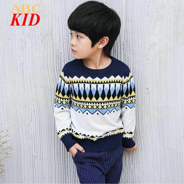 Полосы геометрический узор вязать свитер для мальчиков Рождество костюмы для мальчиков chandail enfant гарсон пуловеры KD075
