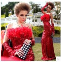 LGF Marca Femenina Red Feather lentejuelas actuaciones discoteca sexy vestido Envuelto pecho trapear/de la manera/Classic