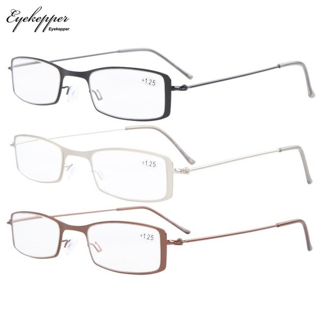 108ddca24434 R15005 Eyekepper 3-Pack Stainless Steel Frame Half-eye Style Reading  Glasses Readers +0.50~+4.0