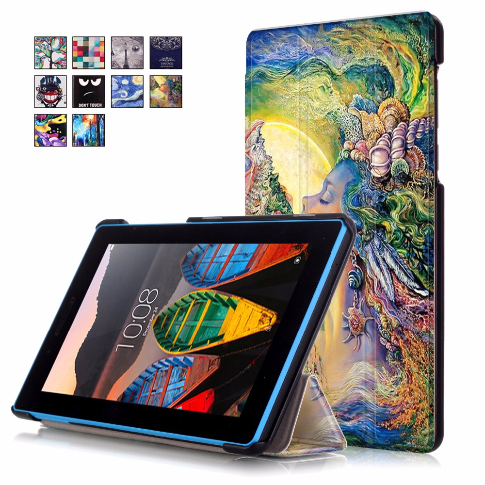 Fashion 3 fold Print PU Leather Stand Tablet Case Protective Cover for Lenovo Tab3 7 TB3-730X TB3-730F TB3-730M 7'' inch cover 100pcs pu leather cover stand case for lenovo tab3 tab 3 7 730 730f 730m 730x tb3 730f tb3 730m 7 0 tablet screen protector