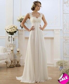 b504f962ea17b59 Простые плиссированные кружевные платья с v-образным вырезом, шифоновые  трапециевидные длинные пляжные свадебные платья с открытой спиной,.