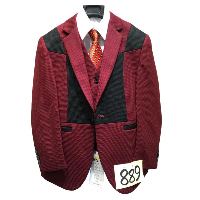 ФОТО Kids Red suit 95-150cm Boys Wedding suits Blazer,Vest,Shirt,Tie,Trouser 5 pieces Clothing sets Child Birthday clothes Party suit